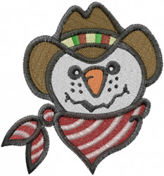 Cowboy Snowman embroidery design