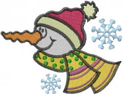 Snowman head embroidery design