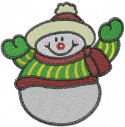 Snowman Wave embroidery design