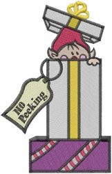 Elf In Gift embroidery design