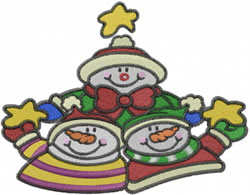 Group Of Snowmen embroidery design