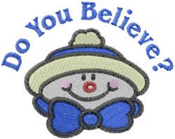 Snowman Believer embroidery design