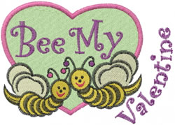 Bee My Valentine embroidery design