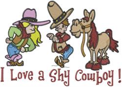 Shy Cowboy embroidery design