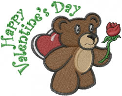 Bear With Rose embroidery design