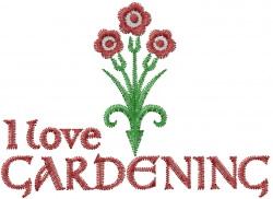 I Love Gardening embroidery design