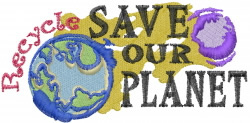 Recycle Our Planet embroidery design