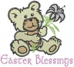 Floral Easter Bear embroidery design