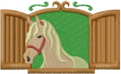 Horse In Window embroidery design