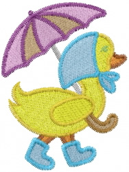 Duck With Umbrella embroidery design