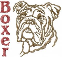 Boxer Head embroidery design