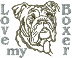Love My Boxer embroidery design