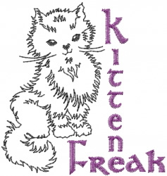 Kitten Freak embroidery design