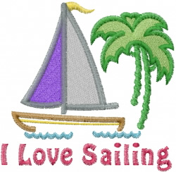 Love Sailing embroidery design