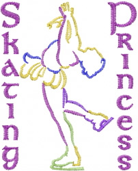 Skater Princess embroidery design