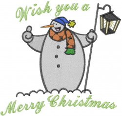 Snowman With Lamp embroidery design