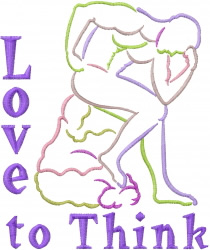 Thinking Man Outline embroidery design