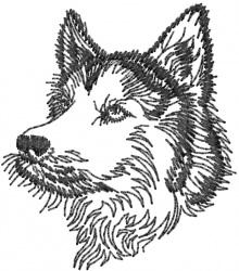 Huskie embroidery design