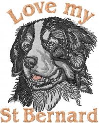St. Bernard Love embroidery design
