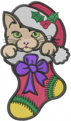 Kitten In Stocking embroidery design
