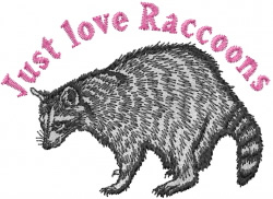 Love Raccoons embroidery design