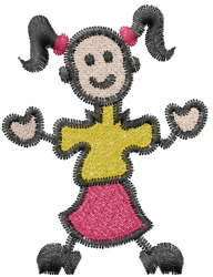 Stick Girl embroidery design