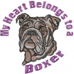 Boxer Heart embroidery design
