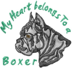 My Boxer Heart embroidery design