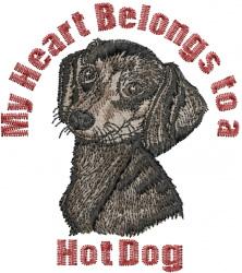 Dachshund Heart embroidery design