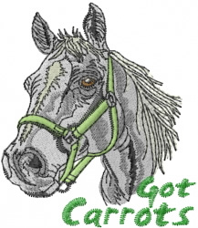 Got Carrots Horse embroidery design