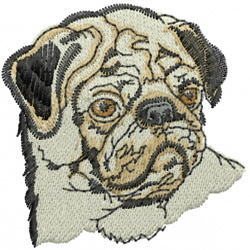 Pug Nose embroidery design