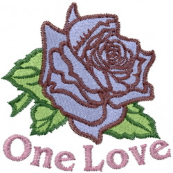 One Love Rose embroidery design