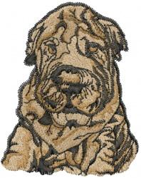 Shar Pei embroidery design