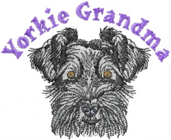 Yorkie Grandma embroidery design
