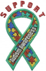 Support Autism embroidery design