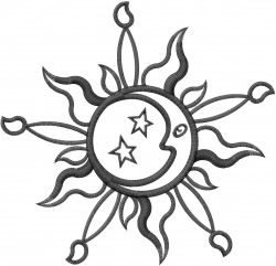 Sun & Moon Outline embroidery design