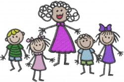 Teacher And Kids embroidery design