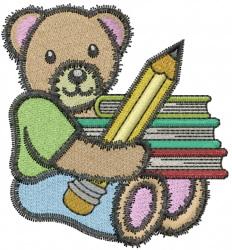 School Bear embroidery design