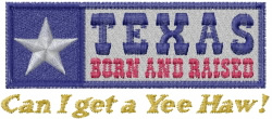 Texas Yee Haw embroidery design
