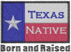 Texas Raised embroidery design