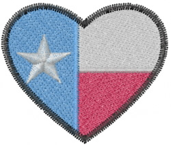 Texas Heart embroidery design