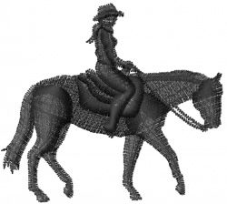 Cowgirl On Horse embroidery design