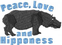 Peace Hippo embroidery design