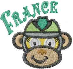 French Monkey embroidery design