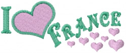 I Love France embroidery design