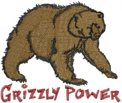 Grizzly Power embroidery design