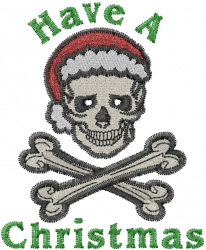 Christmas Skull embroidery design