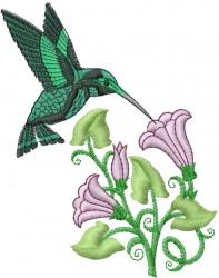 Hummingbird Flowers embroidery design