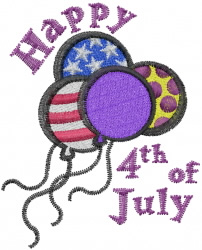 July 4th Balloons embroidery design