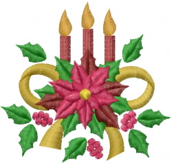 Poinsettia And Candles embroidery design